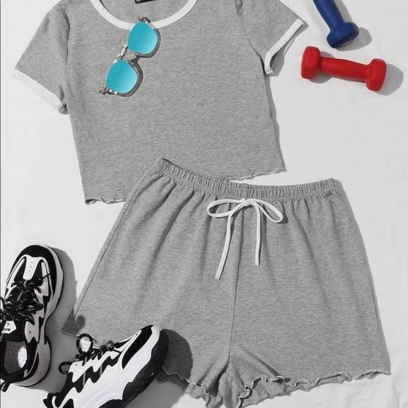 Gray shirt and shorts set